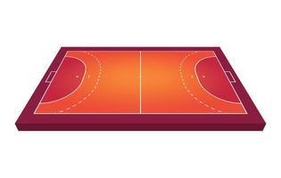 campo de vista en perspectiva para balonmano. contorno naranja de líneas ilustración de vector de campo de balonmano.