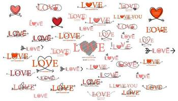 Set of Happy Valentines Day lettering vector