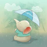 a cute elephant enjoying the rain