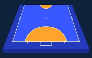 Perspective view half Field for futsal. Orange Outline of lines futsal field Vector illustration.