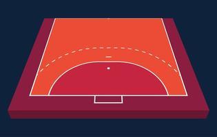 vista en perspectiva de medio campo para balonmano. contorno naranja de líneas ilustración de vector de campo de balonmano.