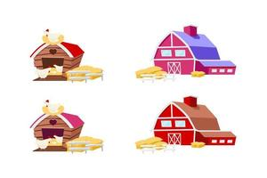 Barns and chicken coops objects set vector