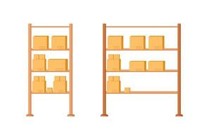 Warehouse shelves flat object set