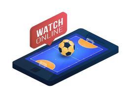 campo de fútbol sala en la pantalla del teléfono concepto en línea vector plano isométrico ilustración. concepto de vector plano isométrico de fútbol sala en línea.