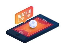 campo de balonmano en la pantalla del teléfono concepto en línea vector plano isométrico ilustración. Concepto de vector plano isométrico de balonmano en línea.