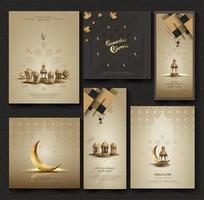 set of islamic greetings ramadan kareem card design background