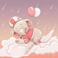 Cute elephant baby floating in the sky vector