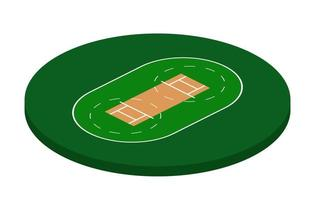 Cricket Field in isometric view, cricket stadium Vector illustration on white background