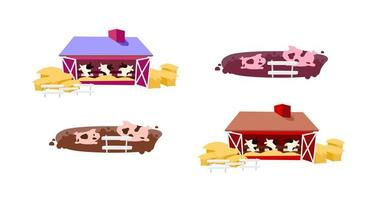 Cowsheds flat vector objects set