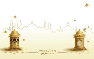 islamic greetings ramadan kareem card design template vector