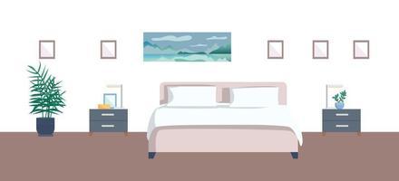 ilustración plana dormitorio vacío vector