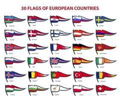 30 flags of european countries vector