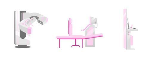 Conjunto de objetos de equipo de mamografía. vector