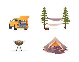 conjunto de objetos planos de equipo de picnic vector