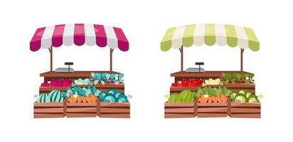 Organic food counter objects set vector