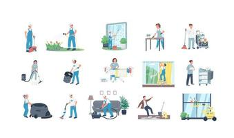 Cleaners flat vector characters set