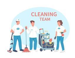 servicio de limpieza personajes planos vector