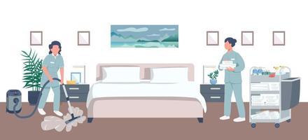 ilustración de limpieza de habitación de hotel vector