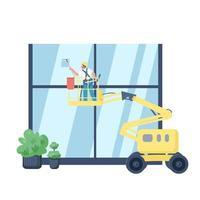 limpiador de ventanas personaje de vector plano