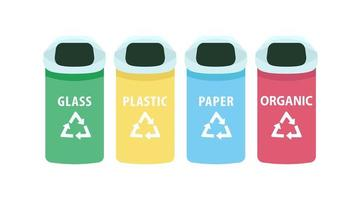 Waste sorting vector objects set