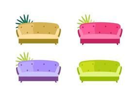 Sofa flat color vector objects set