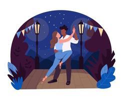 Romantic dance 2D vector web banner, poster