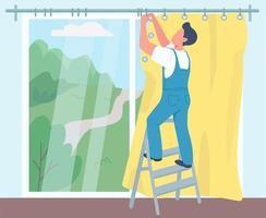 Man hanging curtains illustration vector