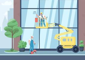 Urban cleaning flat color vector illustration