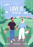 amor en la plantilla de vector plano de cartel de aire