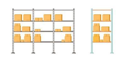 Storage shelves vector object set