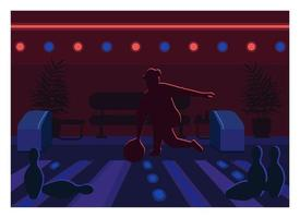 Bowling alley flat color vector illustration