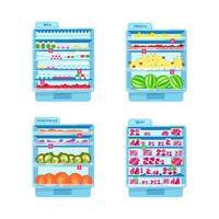Conjunto de objetos planos de refrigeradores comerciales. vector