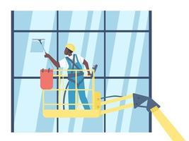 Limpiador lavado de carácter de ventanas vector