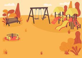 Autumn playpark flat color vector illustration