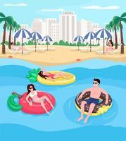 Young people relaxing at beach flat color vector illustration