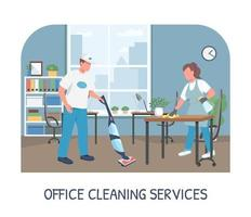 Office cleaning service banner flat vector template