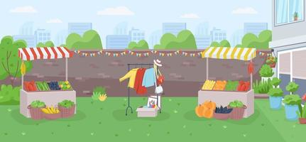 Backyard farmer market flat color vector illustration