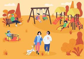 Autumn playpark with visitors flat color vector illustration