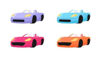 Luxury cars flat objects set vector