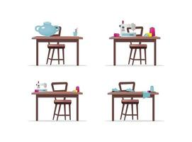 Craft work tables vector objects set