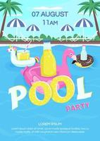 Pool party poster flat vector template
