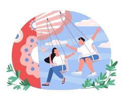 Couple in amusement park 2D vector web banner, poster