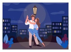 Romantic night flat color vector illustration