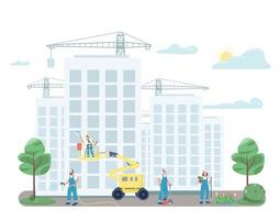 Janitorial team cleaning street flat color vector faceless characters