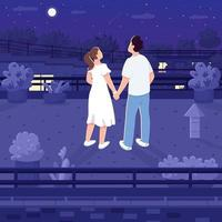 Nighttime roof date flat color vector illustration
