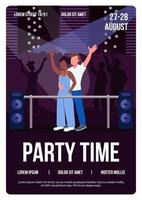 Party time poster flat vector template