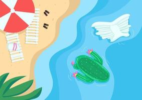 Beach and pool floats flat color vector illustration