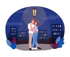 Nighttime walk 2D vector web banner, poster