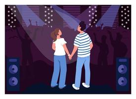 Teenage couple in club flat color vector illustration