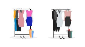 Clothes racks flat objects set vector
